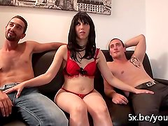 Jessica takes 2 cocks in her hairy pussy