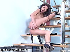 Skinny Hungarian babe masturbates with her sticky fingers