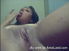 Really horny slut getting off with some solo masturbation