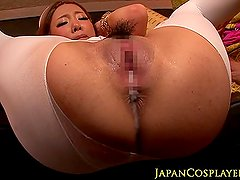 Busty asian cosplay nurse shows her creampie