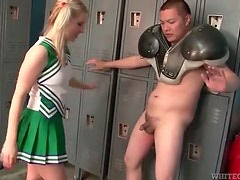 Pigtailed blonde cheerleader being aggressive to horny Asian man