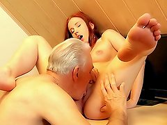 Grateful young slut thanks grandpa with sex