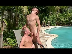Gay blonde sucking and swallowing by the pool - Factory Video