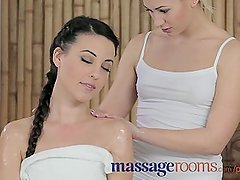 Massage Rooms Young slender teen has g-spot orgasm and trib with lesbian