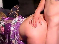 spank in satin robe than blowjob and cum on robe for mick
