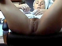 Hidden camera under desk caught mother masturbating