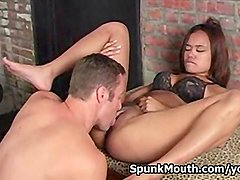 Porno starlet Annie Cruz Enjoys sucking an officer s cock for a nice facial