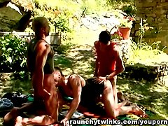 Gay Jocks Amazing Threesome Fucking Outdoors