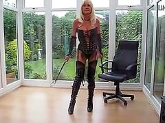 Glory from 1fuckdate.com - Milf in pvc coat and leather lace