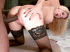 Angela Attison wears nothing but her stockings to her latest fuck session