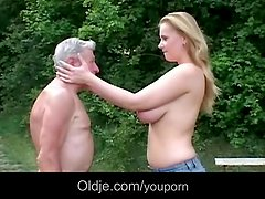 Huge breasted young slut gives grandpa epochal fuck