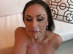 Claudia Valentine gets her delicate face creamed after a deep throut