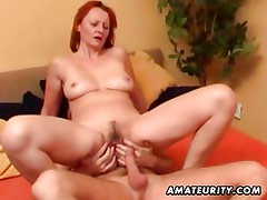 Naughty amateur Milf sucks and fucks a hard stud