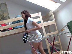 Gorgeous Russian Teen Fucks Her Roommate on Bunk Beds
