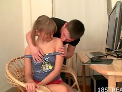 Sexy Karolina Has Her Teen Pussy Fucked By Her Friends Tomas
