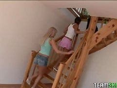 Brunette blonde teens Nataly Ellen hardcore threesome anal sex