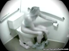 Hot Blonde Teen Masturbating In Restroom Caught By Security Cam