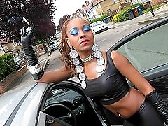 Spandex Stunning Ebony Girl Smoking