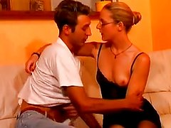 Tall French blonde in stockings & repairman