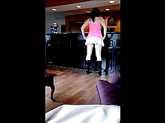 Maddie Checks In to Hotel half Nude Public Up-skirt Shows Pussy to Viewer