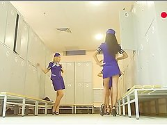Flight Stewardesses Voyeur Changing Room