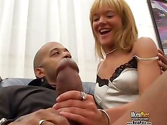 Petite little blonde gets fucked by Blackzilla