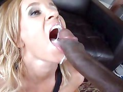 Totally Tabitha sucks the cum from a big black cock