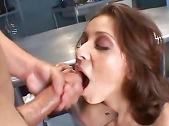 Alluring Sativa Rose gets a mouth full of warm cum