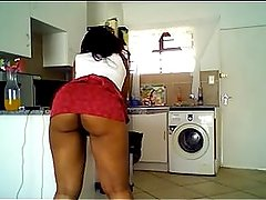 black girl from BlacksCrush.com with juicy ass teasing in kitchen