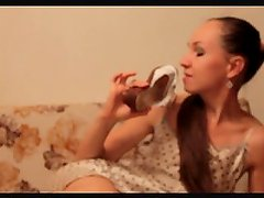 Girl sniffs her shoes 2