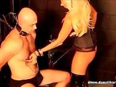Blonde goddess punishes her slave for wanking his cock