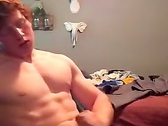 Muscle ginger jerks off at home