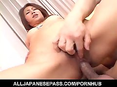 Nana Nanami gets cocks in mouth and hairy cunt and cum after
