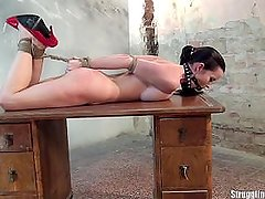 Cindy Hogtied On The Table