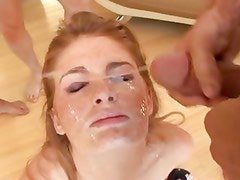 Beautiful babe Faye Reagan takes a huge cum explosion to her pretty face