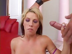 Brooke Haven gets her face sprayed with warm cum