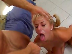 Angela Stone gets her face plastered with warm cum