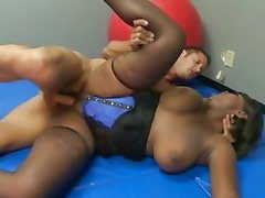 Black chick Stacy Adams lets the cum cover her dirty little body