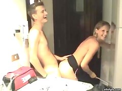 Horny Couple Filming Themselves As they Fuck in the Bathroom