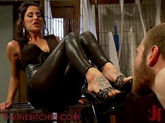 Brunette Dominatrix Thrills on Spanking Male Slave