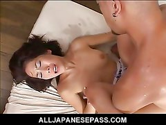 AV model has her sweet pussy spread by a huge dick