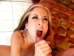 Raunchy babe August gets her mouth filled with cum