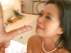 Lucky Starr gets her face sprayed thick cock juice