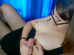 Amateur Brunette In a Dress Sucking and Ridding