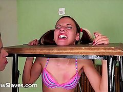 Brazilian bdsm and lesbian whipping of tied