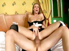 Maid in uniform and thigh high stockings fucking