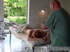 Old chick and two old men anal first time