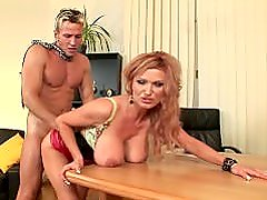 Sharon Pink is your creamy office girl
