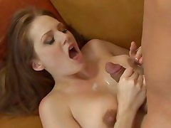 Allison Moore gets her tits glazed with thick cum