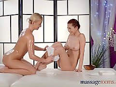 Massage Rooms G-spot orgasm for teen lesbian from big tits masseuse